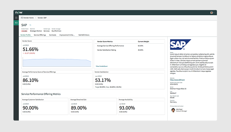 Example of the vendor profile view included in the Vendor Manager Workspace in ITSM Professional.