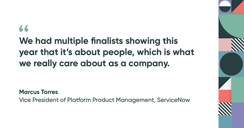 Hackathon quote from judge and VP of platform product management at ServiceNow